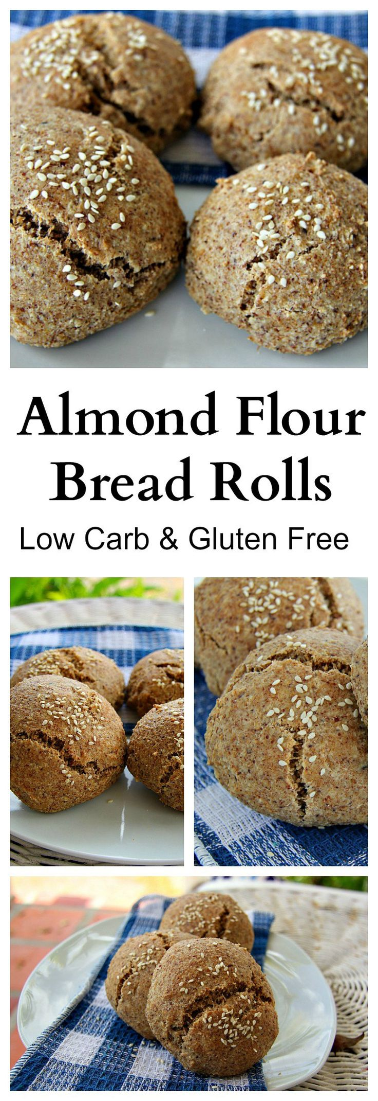 "ALMOND FLOUR BREAD ROLLS - ""This low carb and gluten free almond flour bread roll recipe is one of the best alternative to bread I have ever tasted. It looks like dough when you are making it, smells like bread, and looks like bread with air pockets BUT…*drum roll*…is gluten free, grain free, low carb and just fabulous!"""