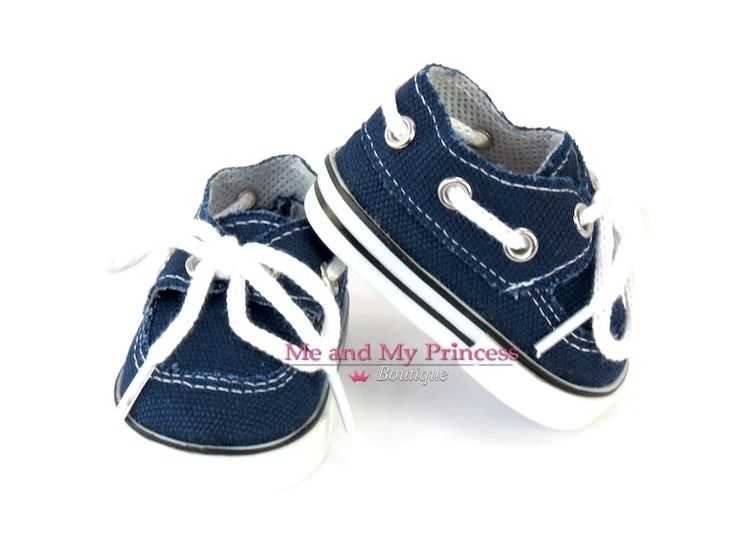 blue boat shoes fits 18 inch American Boy Doll