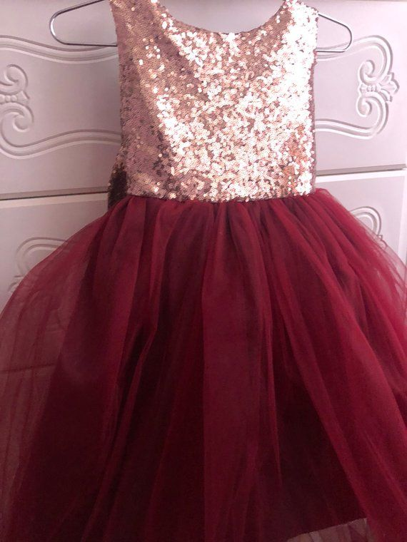 c793f73a0 Salina Dress- Sequin Rose gold burgandy flower girl dress tulle ...