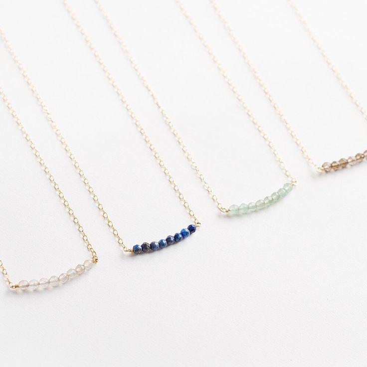 Gemstone bar necklace - group discount - gold semi precious bead bar - bridesmaid gift set - lapis lazuli by MinettaJewellery on Etsy https://www.etsy.com/listing/196366068/gemstone-bar-necklace-group-discount