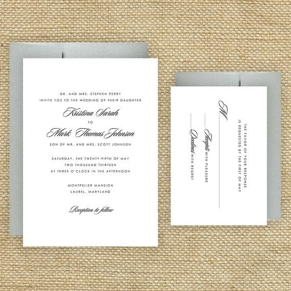 Simple Wedding Invitations Traditional Wedding Invitations Sample. $2 ...