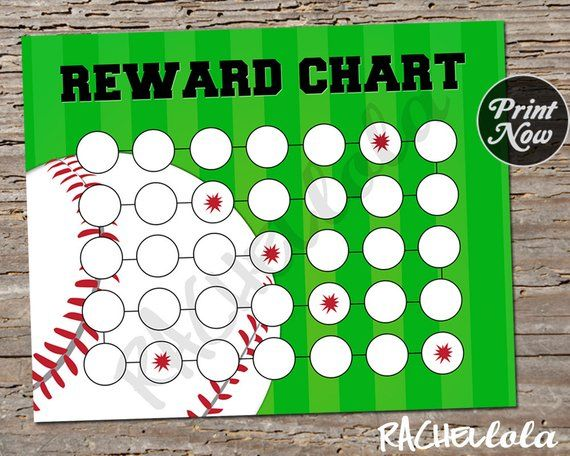 Baseball Reward Chart For Kids Printable Instant Digital Download