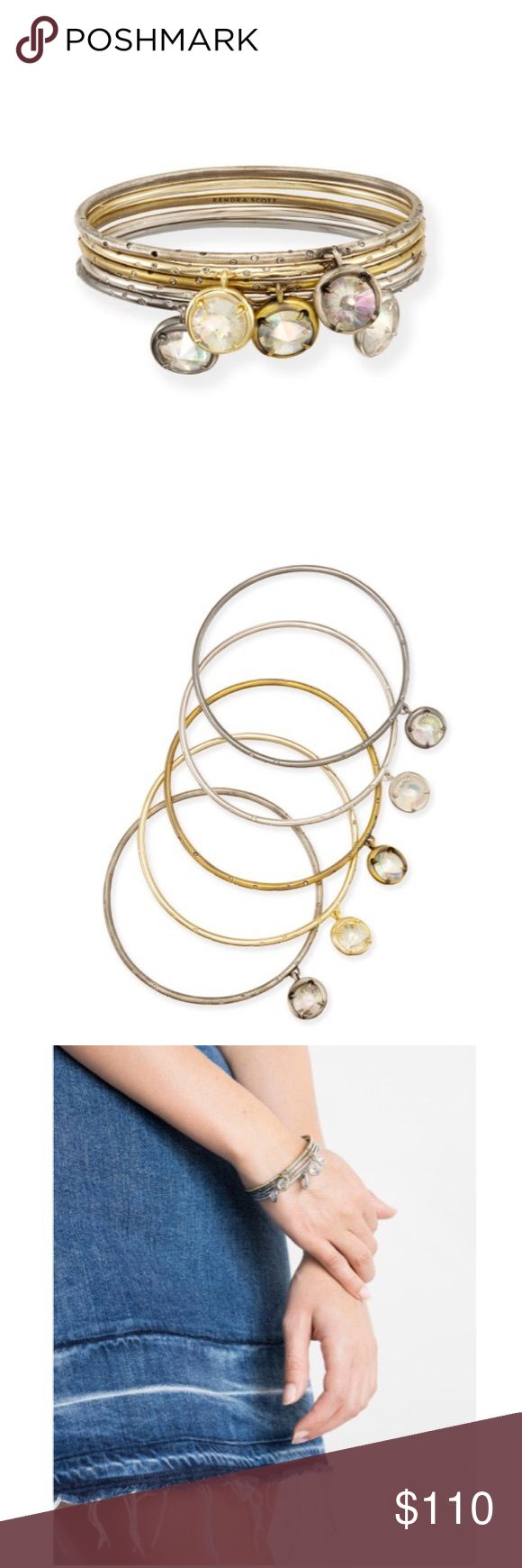 """Brianna Bangle Bracelet Set In Mixed Metals Add an element of charm to your everyday look. A subtle mix of metals creates an eclectic appeal, and the thin bangle design looks great alone or stacked to the full.  Brand new in box, with tags. Never even tried on!  • 14K Gold, Rhodium, Antique Silver, Hematite, Antique Plated Brass • Size: 2.5"""" diameter, .51"""" station diameter • Qty: set of 5 • Material: iridescent clear glass*  *Due to the one-of-a-kind nature of the medium, exact color…"""