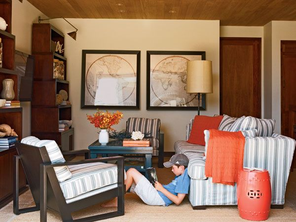 suzie joe schmelzer fun orange u0026 blue media room design with persimmon garden stool orange