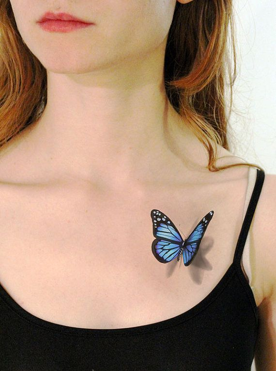 3D Blue Butterfly Tattoo For Young Girls
