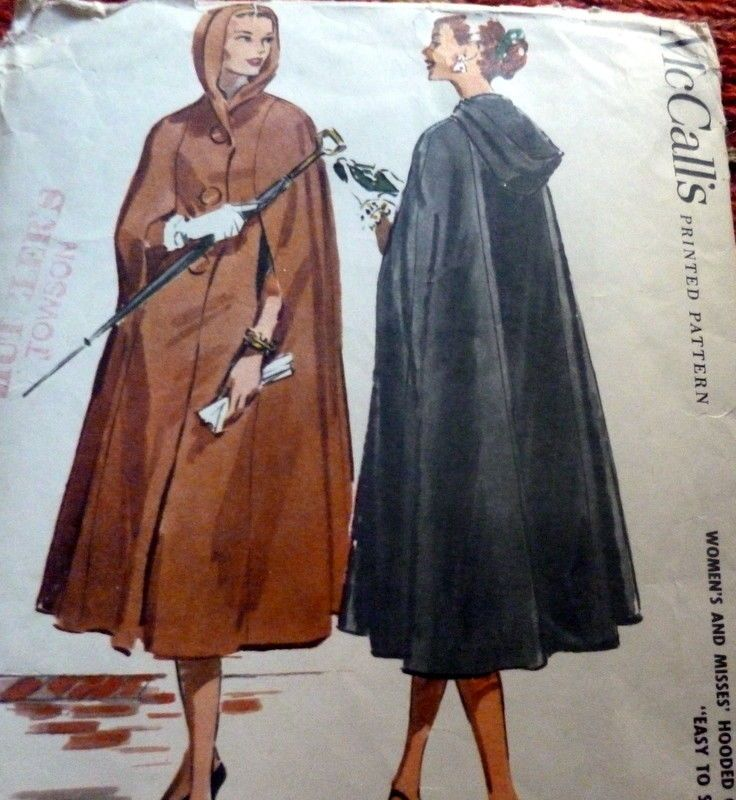 LOVELY VTG 1950s HOODED CAPE McCALLS Sewing Pattern BUST 34-36  I was outbid on this one.