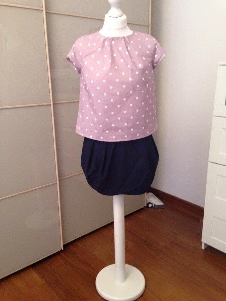Blusa manica reglane e gonna tulipano - handmade by LoreLà