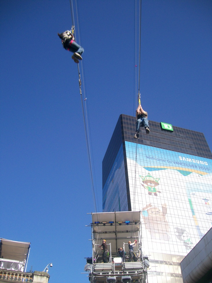 Zipping in, @ Robson Square (2010 Winter Olympics, Vancouver)