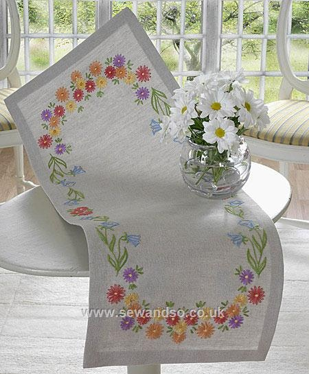 Ordered this kit today. Looking forward to getting started on my first embroidery project! :)    Anchor Bluebell & Daisy Table Runner - www.sewandso.co.uk