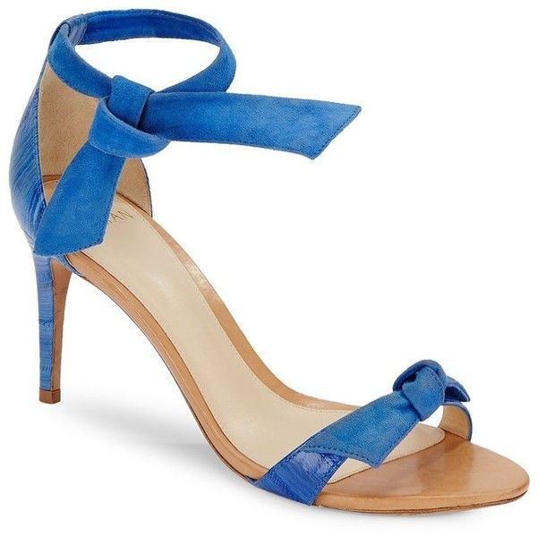 Alexandre Birman Patty Suede & Eel Bowtie D'Orsay Sandals ($300) ❤ liked on Polyvore featuring shoes, sandals, blue, open toe sandals, d orsay sandals, alexandre birman sandals, blue suede shoes and d'orsay shoes