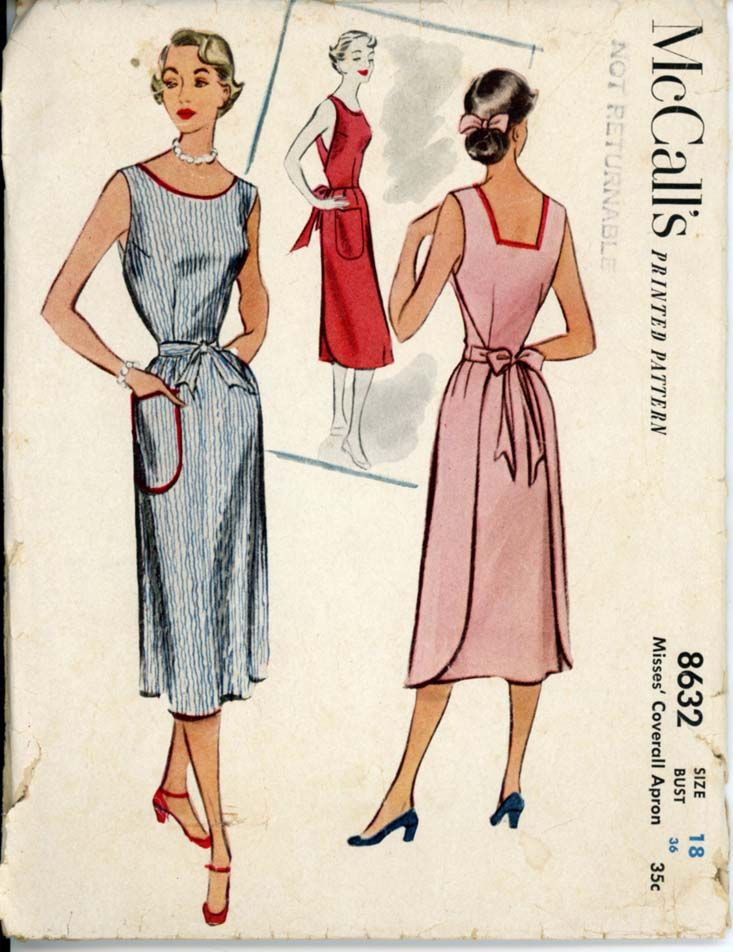 McCalls 8632 Vintage Sewing Pattern Misses Coverall Apron Wrapron Dress Wrap Back Bust 32