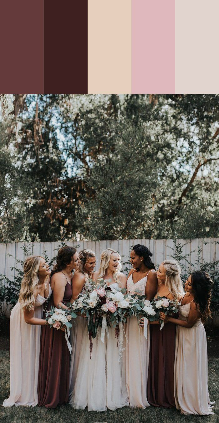 e58d31007a5 Love the contrast from the chocolate brown to the light pastels in this mismatched  bridesmaid style