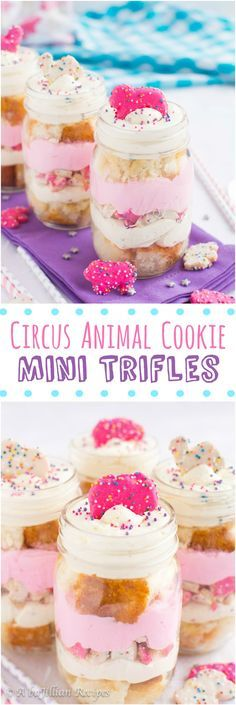 Circus Animal Cookie Mini Trifles - Individual trifles layered with cubes of light and fluffy white cake, white chocolate pudding, rainbow chip cheesecake mousse, and frosted Circus Animal cookies!