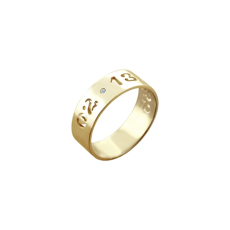 5mm 14k Gold Cut Out Date Ring w/t Diamond Accents - Made to order in New York - Ships in 5-7 business days - Sizes 4-9.