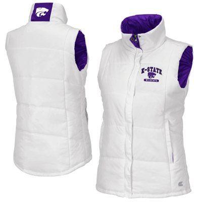 HAVE Kansas State Wildcats Ladies Vortex Full Zip Puffer Vest - White