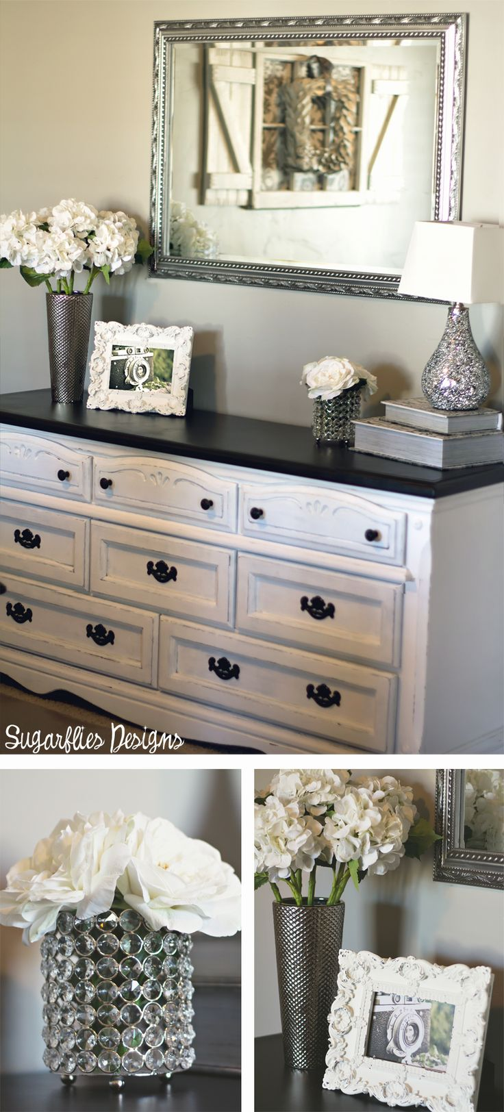 White dresser with black top silver detailed mirror above. Best 25  Dresser top decor ideas on Pinterest   Bedroom dresser