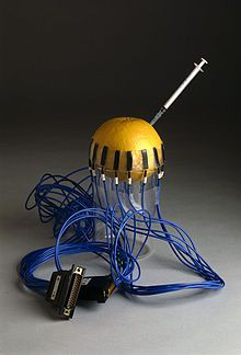 In this prototype, the electrodes are attached around a grapefruit which represents a child's head. Liquid is injected into the grapefruit to mimic brain haemorrhage.Electrical impedance tomography - Wikipedia, the free encyclopedia