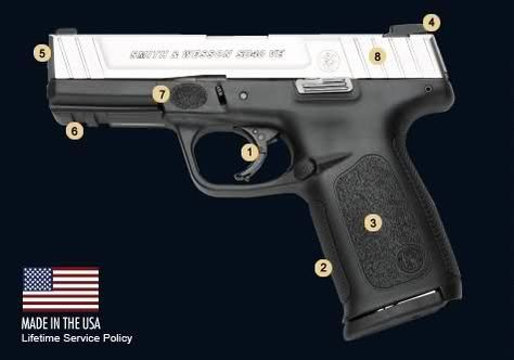 """http://www.smith-wesson.com/webapp/w...2_757751_image""""With the introduction of the new SD9 VE and SD40 VE pistols, we have taken the best features of the SD and Sigma pistols and evolved them into a new generation of firearms that meet our customers' requirement in terms of both functionality and price,"""" said Mario Pasantes, Smith & Wesson's senior vice president of Marketing and Global Professional Sales.Quote:"""