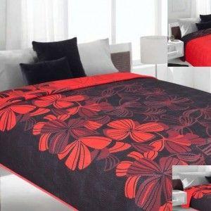 Obojstranný čierno - červený prehoz na posteľ