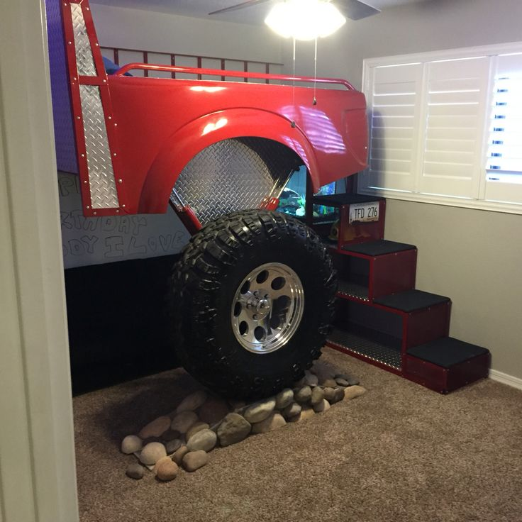 Best 25 fire truck beds ideas on pinterest truck toddler bed fire truck bedroom and used - Jeep toddler bed plans ...