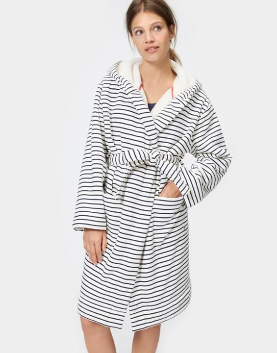 Idlewhile French Navy Stripe Fleece-Lined Dressing Gown | Joules UK