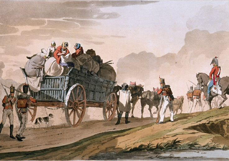 19th century illustration of British army supply wagon