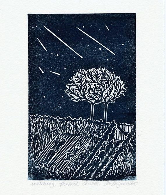Watching Perseid Shower Lino Print. Perseid Meteor by JoDegenhart