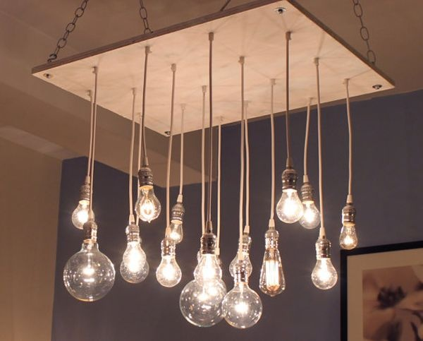 Ampoules suspension bois lampe pinterest for Suspension ampoules multiples