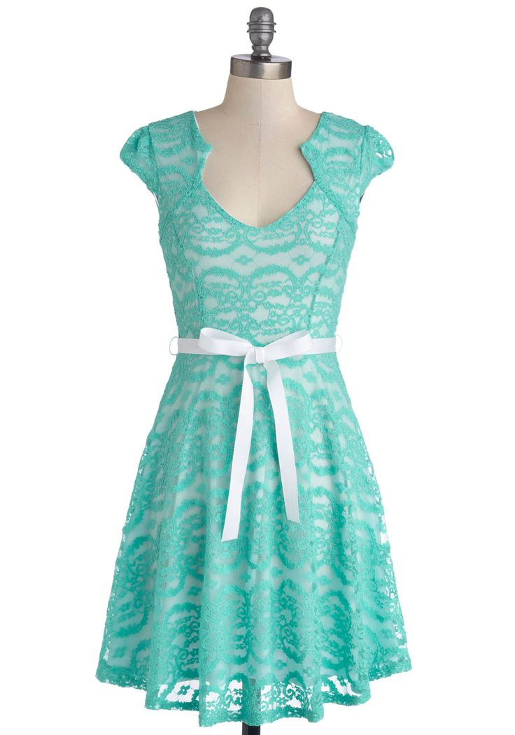 Sweet Staple Dress. While you have a closet of precious pieces, you often find yourself reaching for this mint lace dress! #mint #wedding