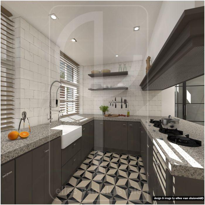 Keuken Eiland Of Schiereiland : Keuken met kook-schiereiland. ontwerp virtuele verbouwing t.b.v