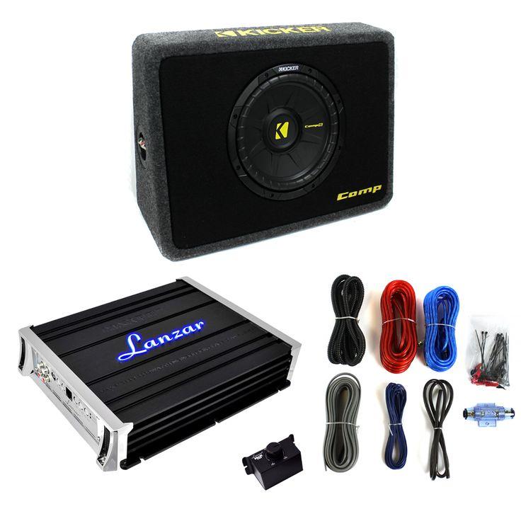 Kicker 40TCWS104 10-Inch 600W Subwoofer   Box   2000W Mono Amplifier   Amp Kit (Package) 40TCWS104   MAXP1055D   B8GK,    #Kicker 10-Inch Subwoofers