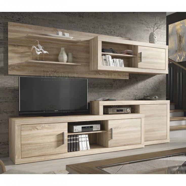 obývací stěna, materiál: DTD laminovaná, provedení: dub sonoma, rozměry: ŠxVxH: 241x180x41...