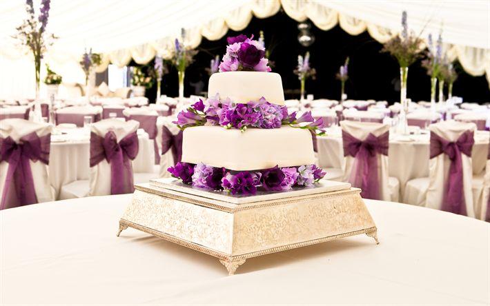 Descargar fondos de pantalla Torta de la boda, flores de color púrpura, de novia, decoración floral, pastel, boda decoración