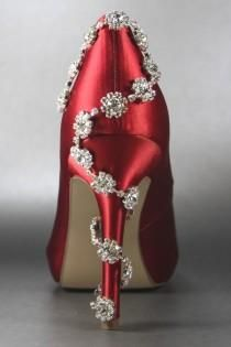 Wedding Shoes -- Red Platform Peeptoes Silver Rhinestone Detail On Heel