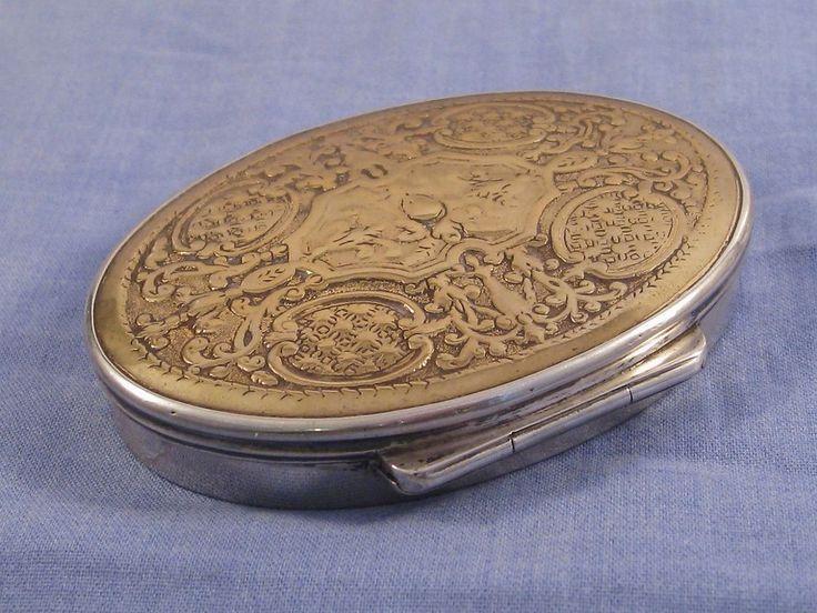 Scandinavian silver & brass antique georgian era snuff tobacco box nyegaard