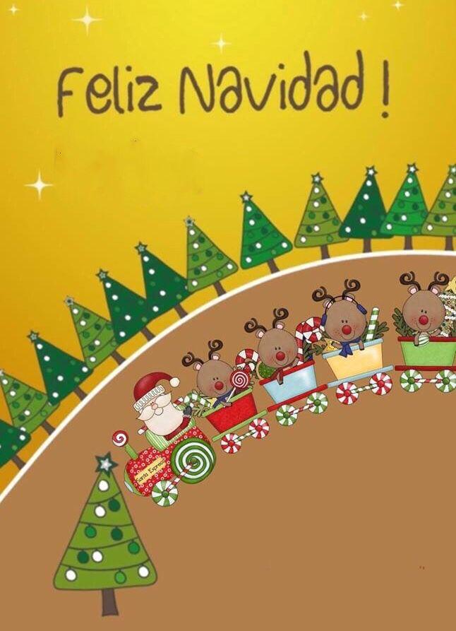 Feliz Navidad, tren evito de renos, tarjeta navideña