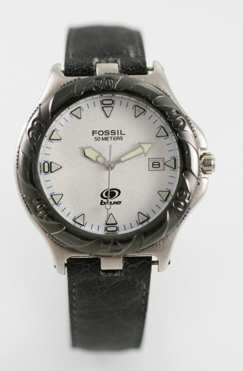 Fossil Blue Watch Mens White Date Stainless Steel Silver Gray Leather 50m Quartz