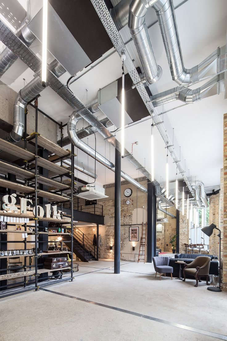 industrial interior / shelves / high ceilings / exposed pipes