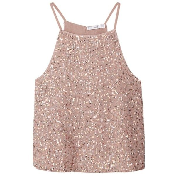 Mango Sequined Top, Pastel Pink (£50) ❤ liked on Polyvore featuring tops, pink top, spaghetti strap top, sparkly tops, pink sleeveless top and pastel tops