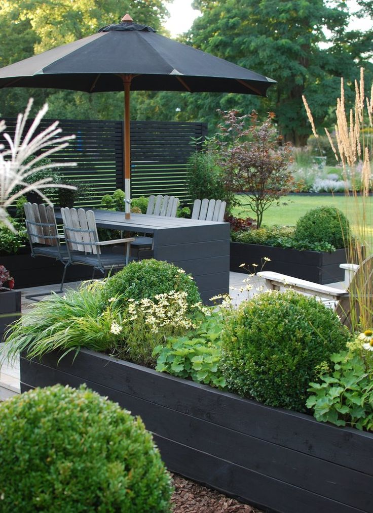 Love the black painted raised planters! Perfect for our deck at our cottage:)