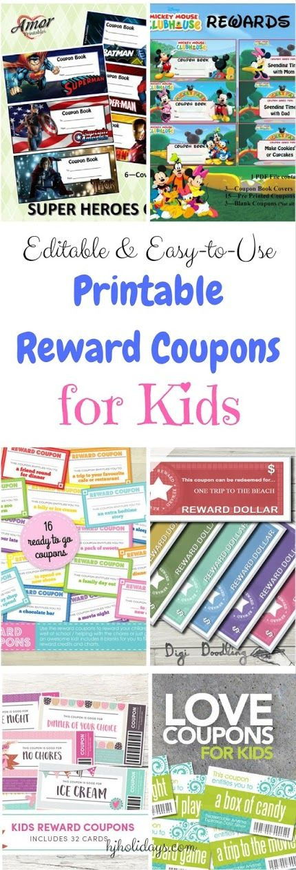 Editable and Easy-to-Use Printable Reward Coupons for Kids                                                                                                                                                                                 More