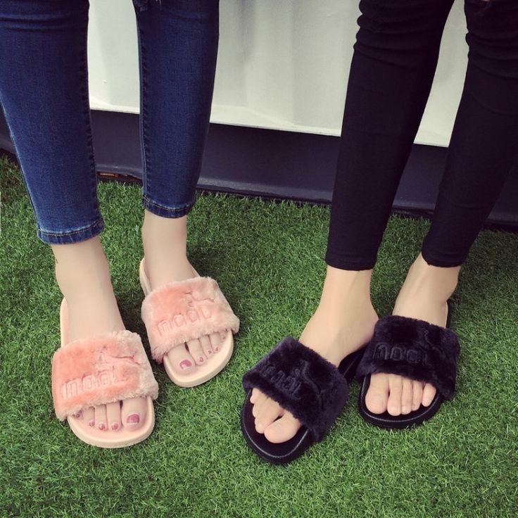 Fur slides fur slippers designer flip flops fur sandals slippers with feathers woman famous brand slides luxury brand fur shoes