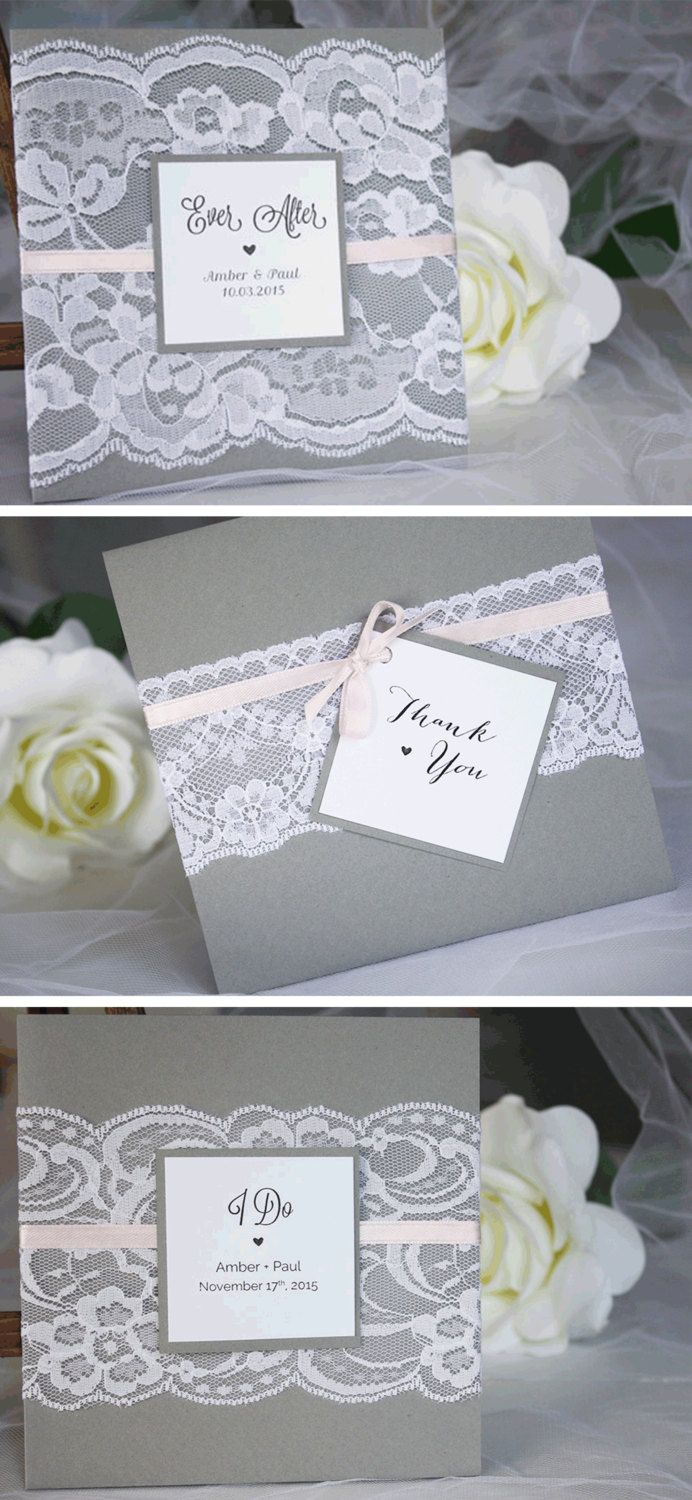 Grey and pink lace wedding invitations by always, by amber @alwaysbyamber