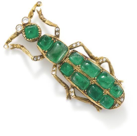 PHILLIPS : UK060111, , An emerald and diamond beetle pin: