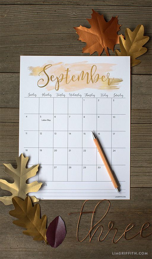 Printable September 2016 Calendar