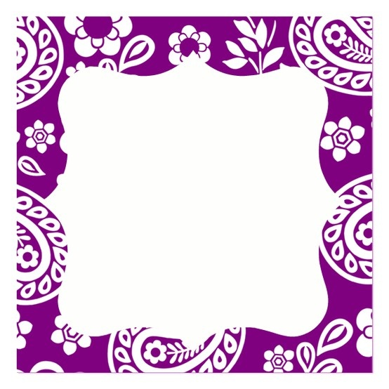 violet paisley name card