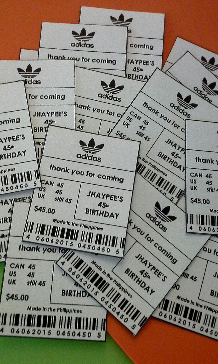 Adidas inspired favor tags; design by Davis Floral Creations