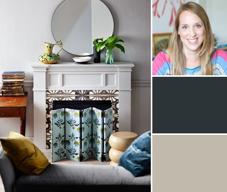 Products: Pavilion Gray (242), Farrow & Ball; Hague Blue (30), Farrow & Ball; Transitional Fireplace (BSP-26-TS), mantel, Dimplex; fabric (on screen) Lulu DK Moondance in Light Blue (11115-3), Y wallpaper (on surround), Kaleido in Black, Jocelyn Warner; wall colour, Pavilion Gray (242) in Full Gloss, mantel colour, Pavilion Gray (242) in Estate Emulsion, Farrow & Ball; canvases, DeSerres; Acorn Forged Iron hinges (AH18Q), Lee Valley Tools; settee, stool, South Hill Home.