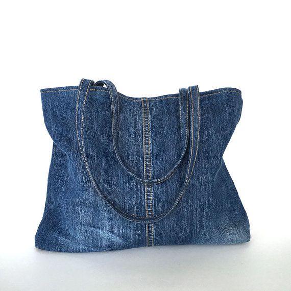 Recycled jeans tote bag upcycled denim handbag blue by Sisoibags