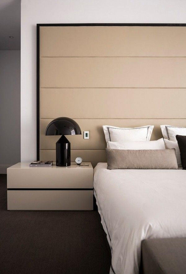 Great Modern Interior   Beige Leather   Upholstered Wall   Bedroom Furniture    Home Ideas Photo